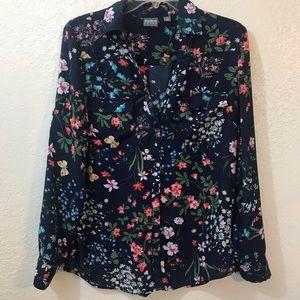 Soho New York & company Jeans floral blouse SZ M